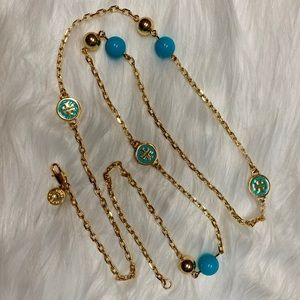 TORY BURCH GOLD PLATED NECKLACE W/TT STATIONS NWT